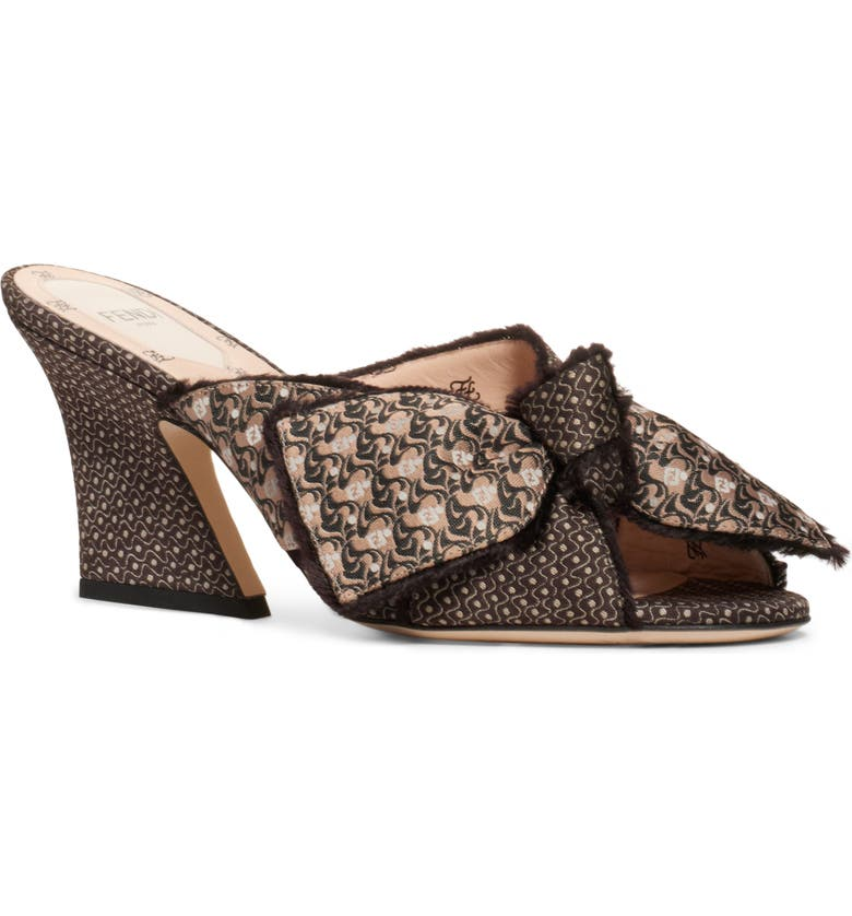FENDI Bow Slide Sandal, Main, color, BLACK/ BLUSH