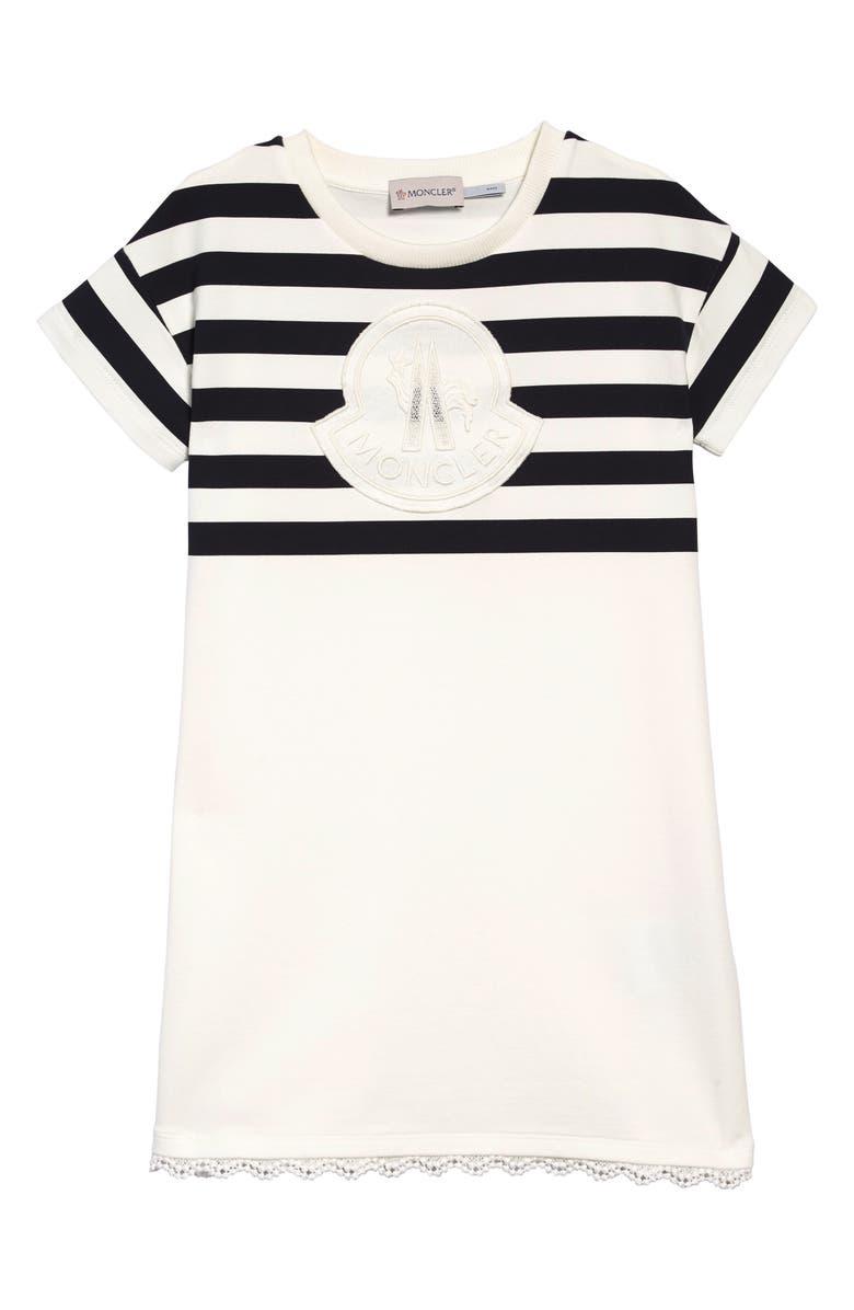 MONCLER Stripe Logo Dress, Main, color, 100