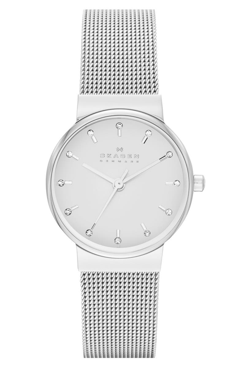SKAGEN 'Ancher' Crystal Index Mesh Strap Watch, 26mm, Main, color, 040