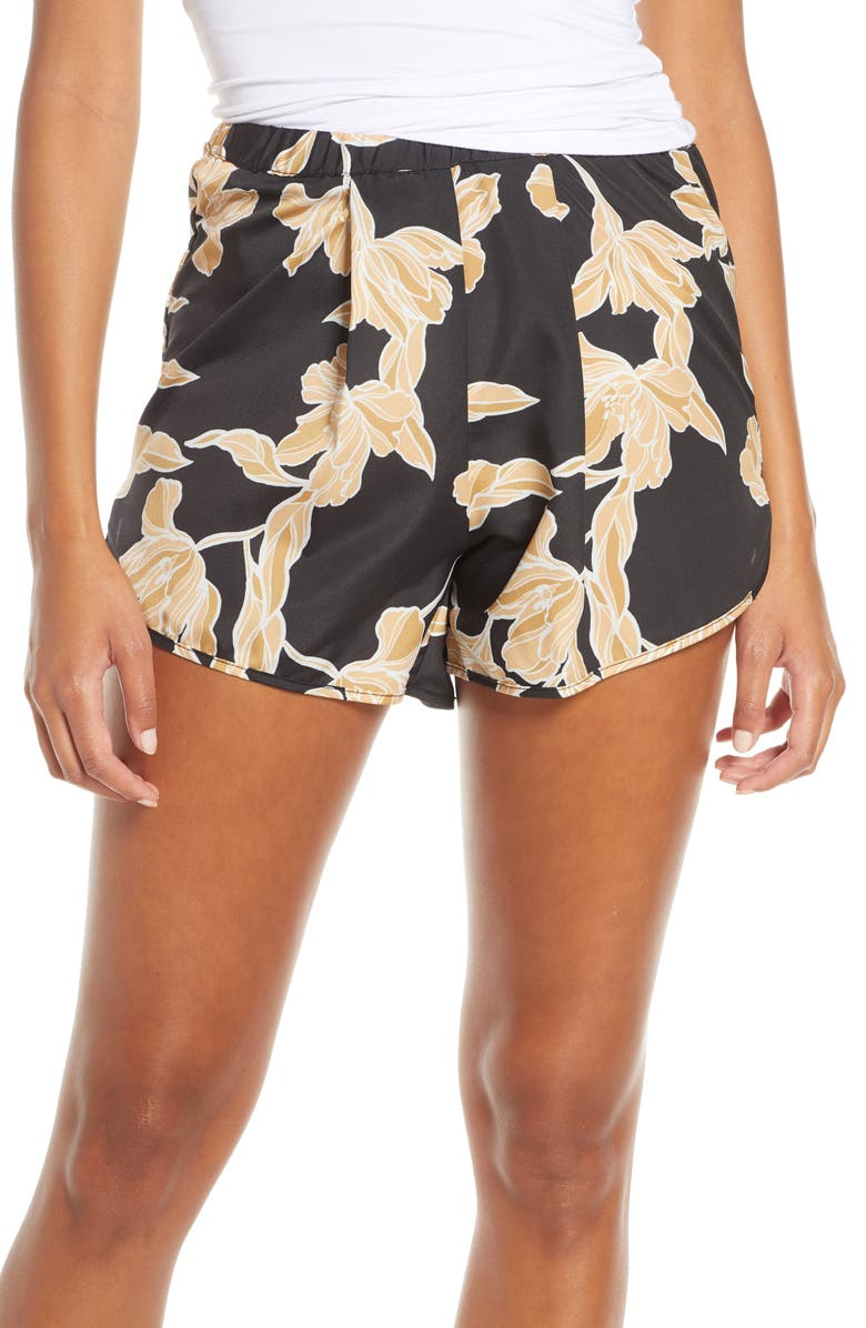 MAISON DU SOIR Firenze Sleep Shorts, Main, color, GOLD FLORAL