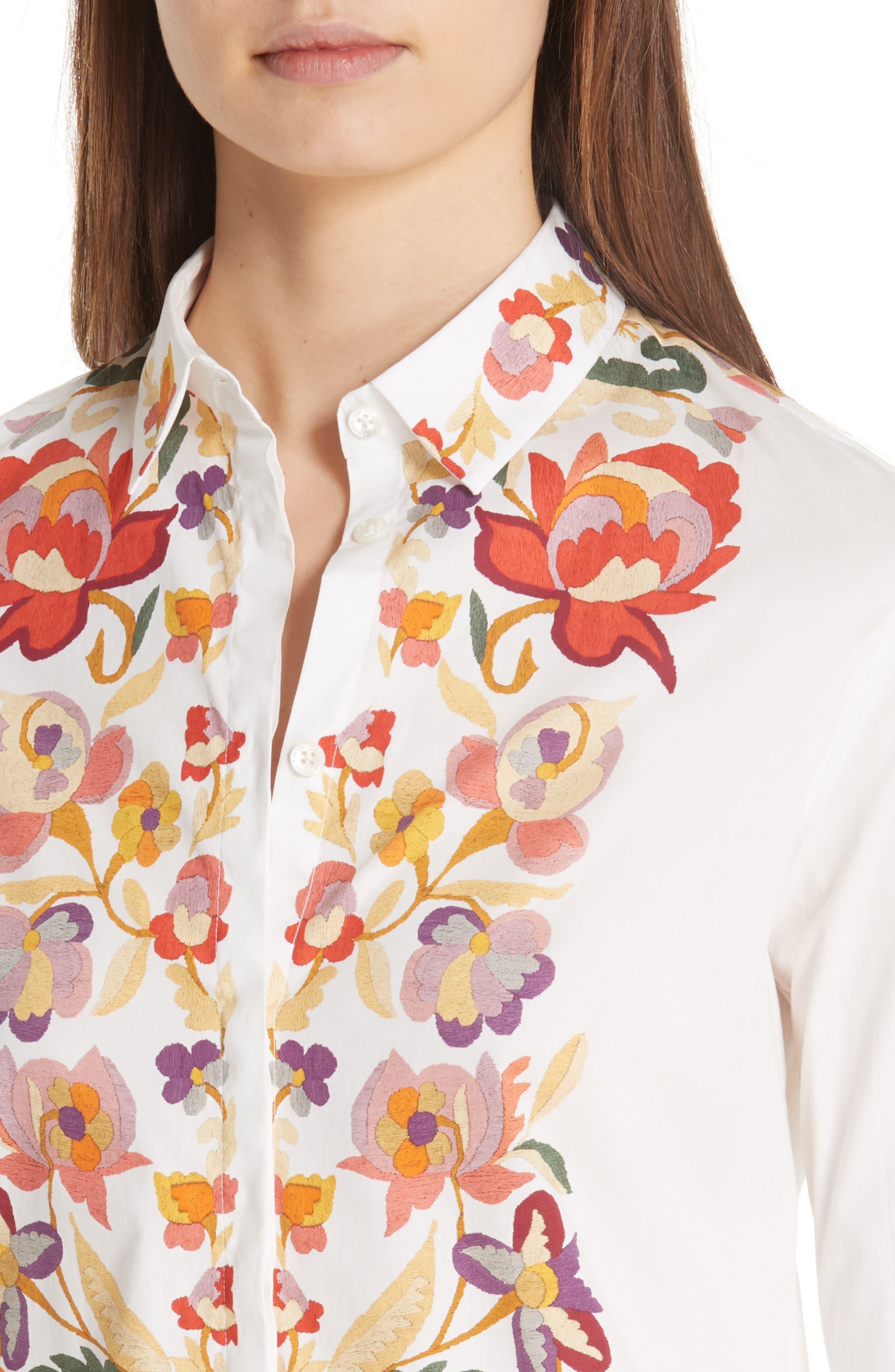,                             Floral Print Stretch Cotton Shirt,                             Alternate thumbnail 4, color,                             WHITE