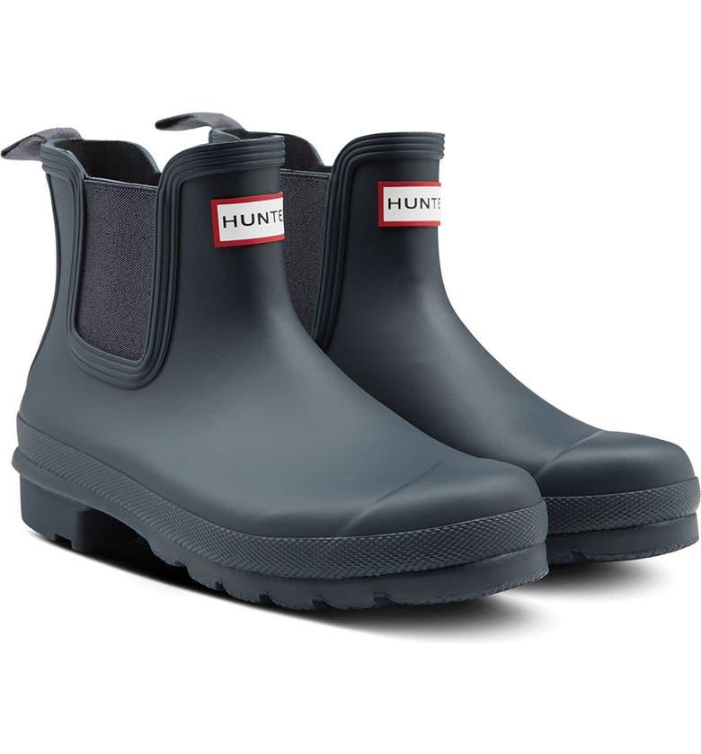 HUNTER Original Waterproof Chelsea Rain Boot, Main, color, NAVY/ NAVY