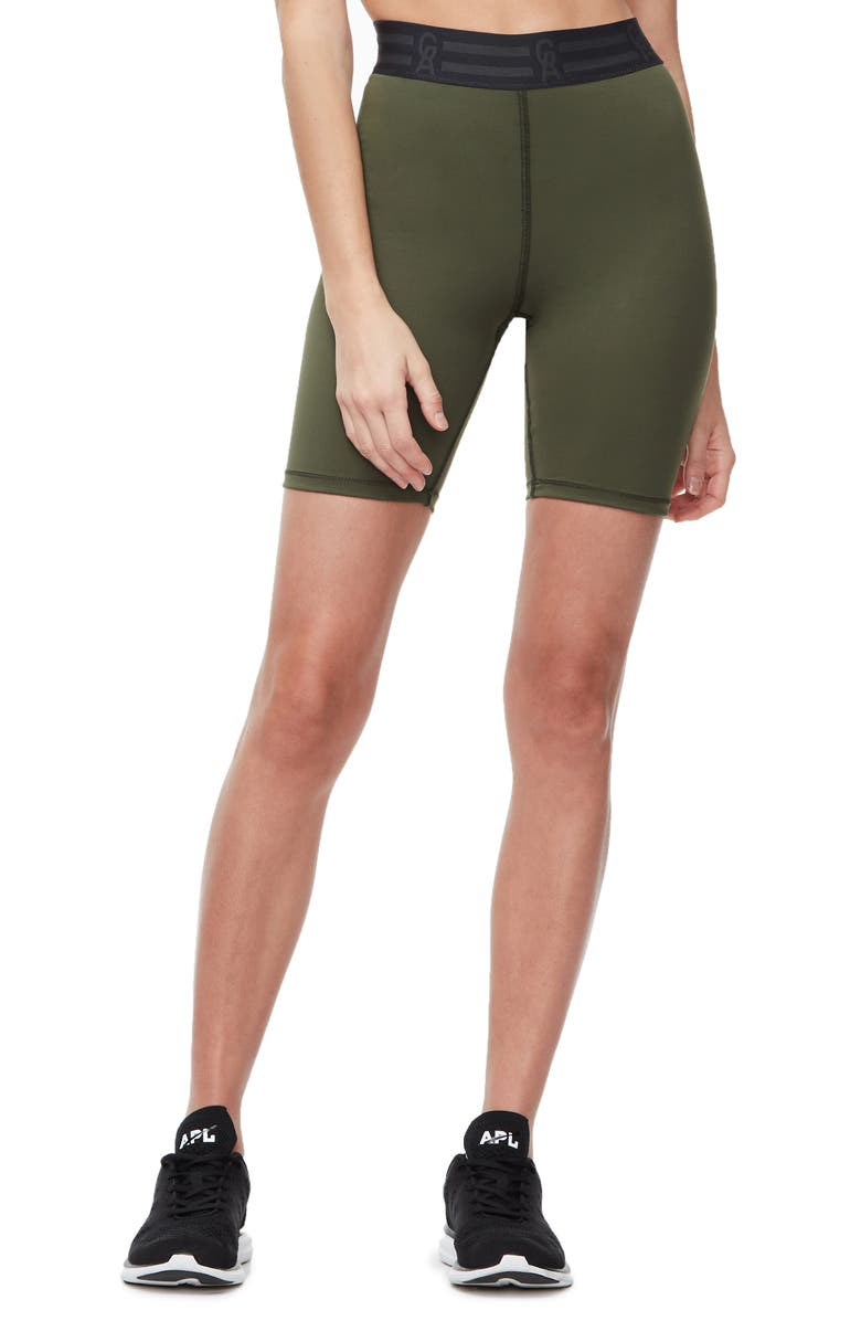 GOOD AMERICAN Icon High Waist Biker Shorts, Main, color, OLIVE002
