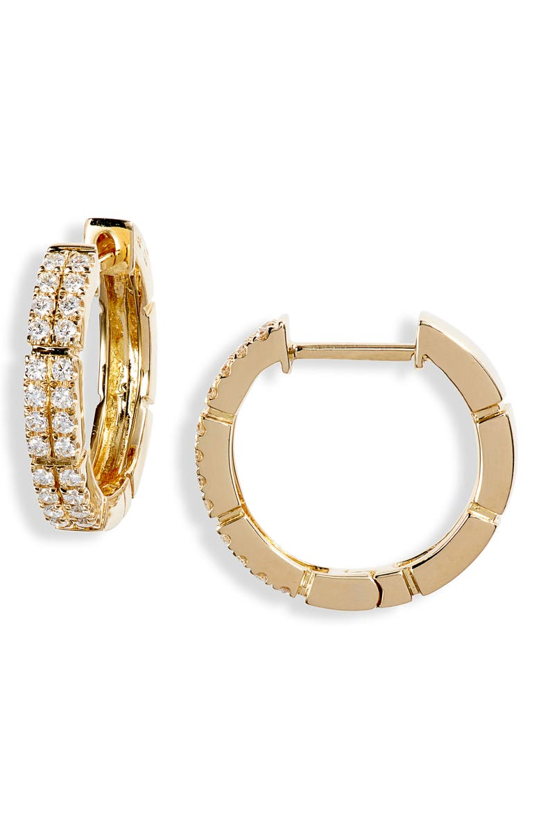 BONY LEVY Katherine Pavé Diamond Hoop Earrings, Main, color, YELLOW GOLD/ DIAMOND