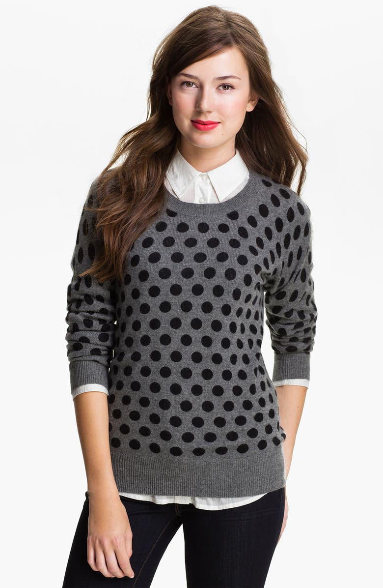 ONLY MINE Polka Dot Cashmere Sweater, Main, color, 024