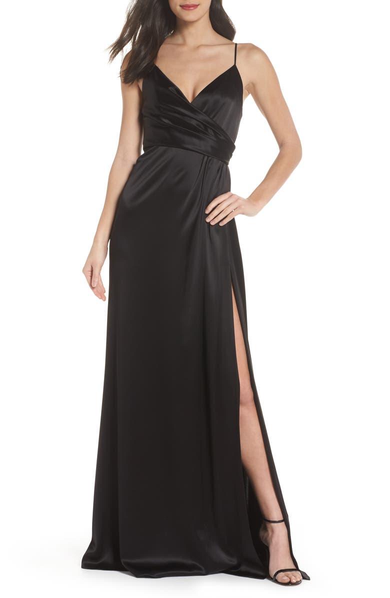JILL JILL STUART Faux Wrap Satin Gown, Main, color, 001