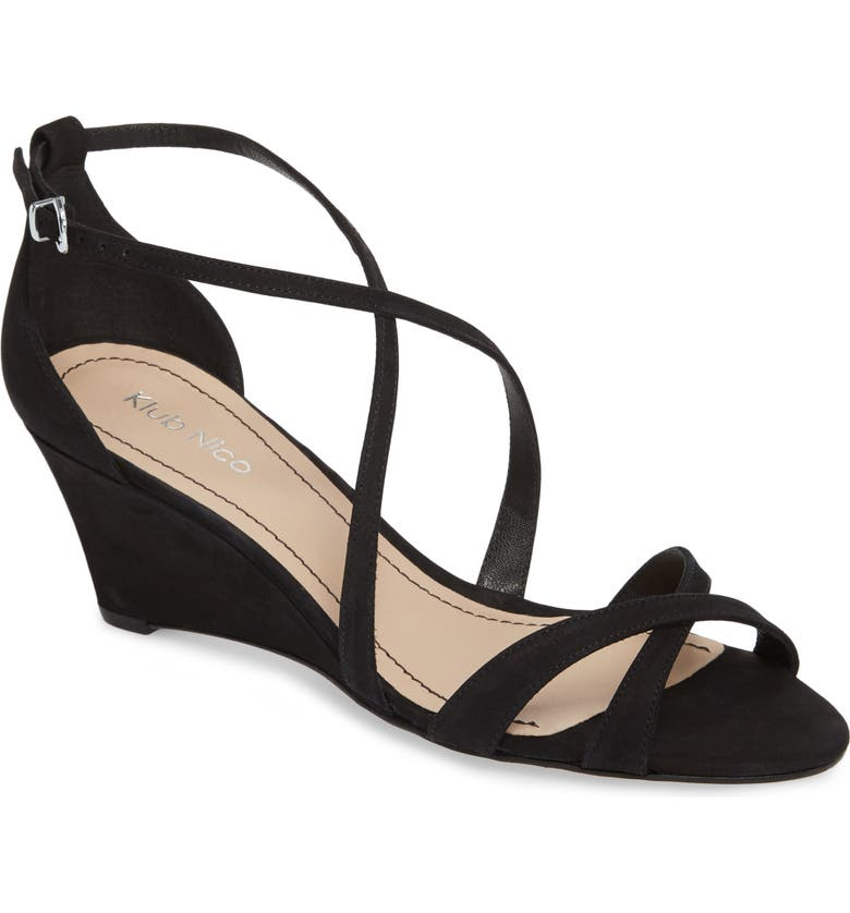 KLUB NICO Kaissa Sandal, Main, color, BLACK NUBUCK LEATHER
