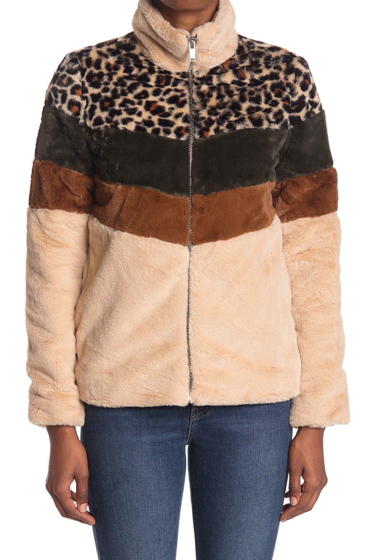 Image of Coffee Shop Faux Fur Colorblock Zip Jacket