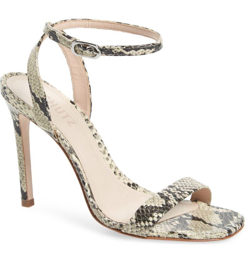 SCHUTZ Cinzia Snake Embossed Ankle Strap Sandal, Main, color, NATURAL SNAKE