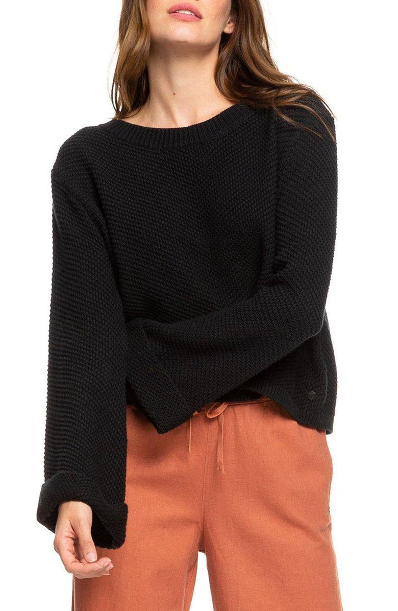 ROXY Sorrento Shades Bell Sleeve Sweater, Main, color, ANTHRACITE