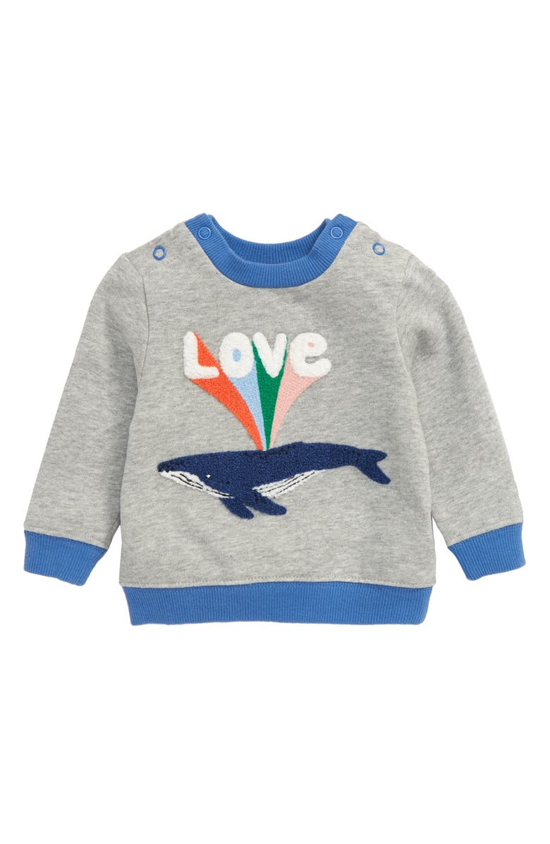 MINI BODEN Whale Love Appliqué Sweatshirt, Main, color, GREY MARL/ WHALE