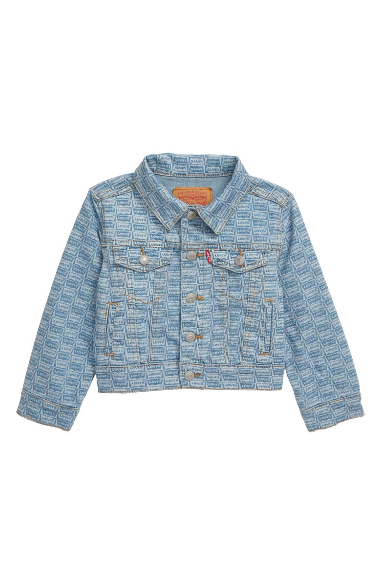 LEVI'S<SUP>®</SUP> Logo Print Denim Trucker Jacket, Main, color, SALT CREEK