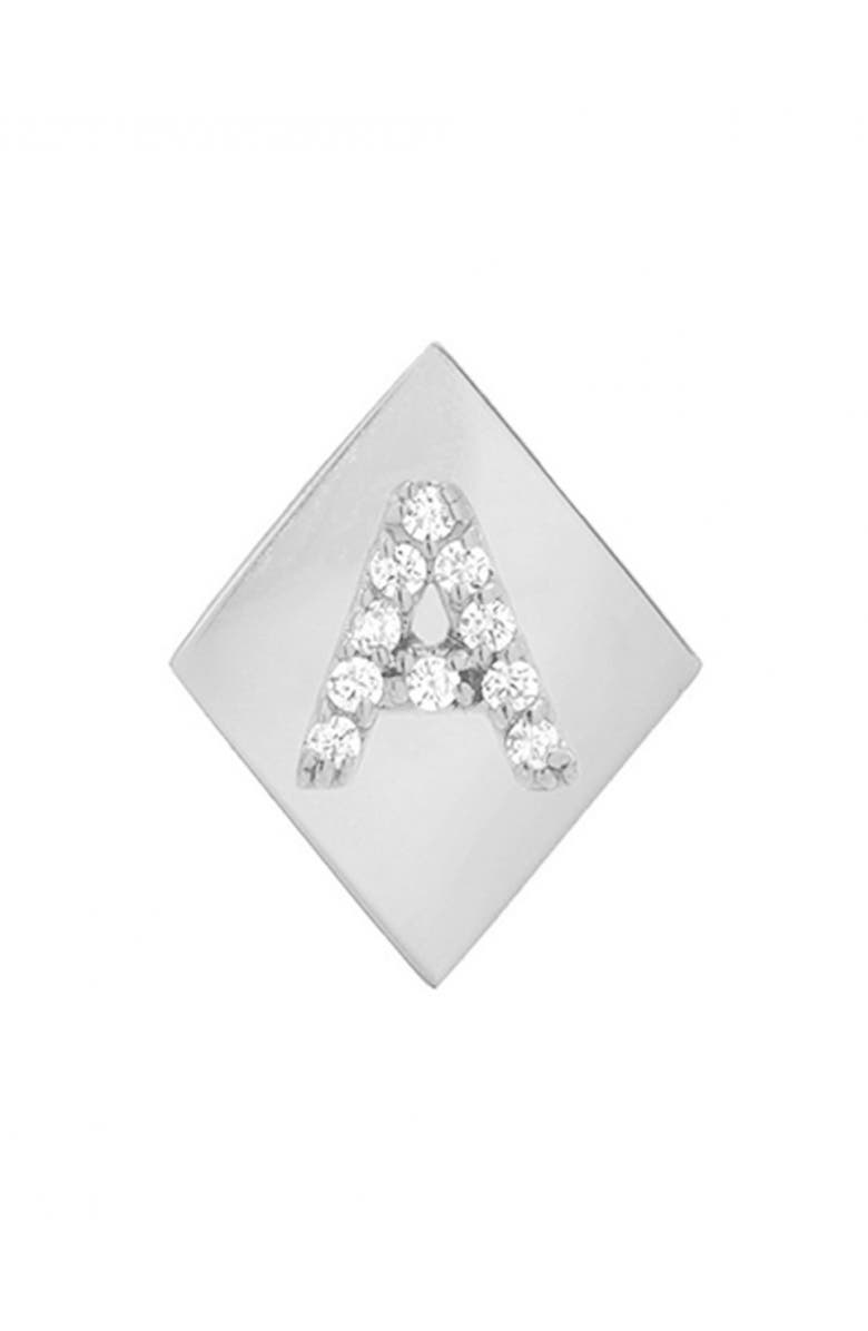 MINI MINI JEWELS Framed Diamond Initial Earring, Main, color, WHITE GOLD-A