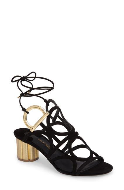 Image of Salvatore Ferragamo Vinci Lace-Up Block Heel Sandal