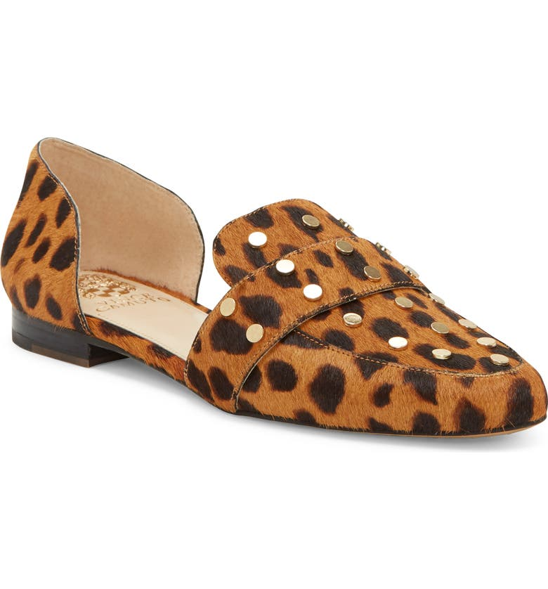 VINCE CAMUTO Wenerly Studded d'Orsay Loafer, Main, color, BOLD NATURAL CALF HAIR