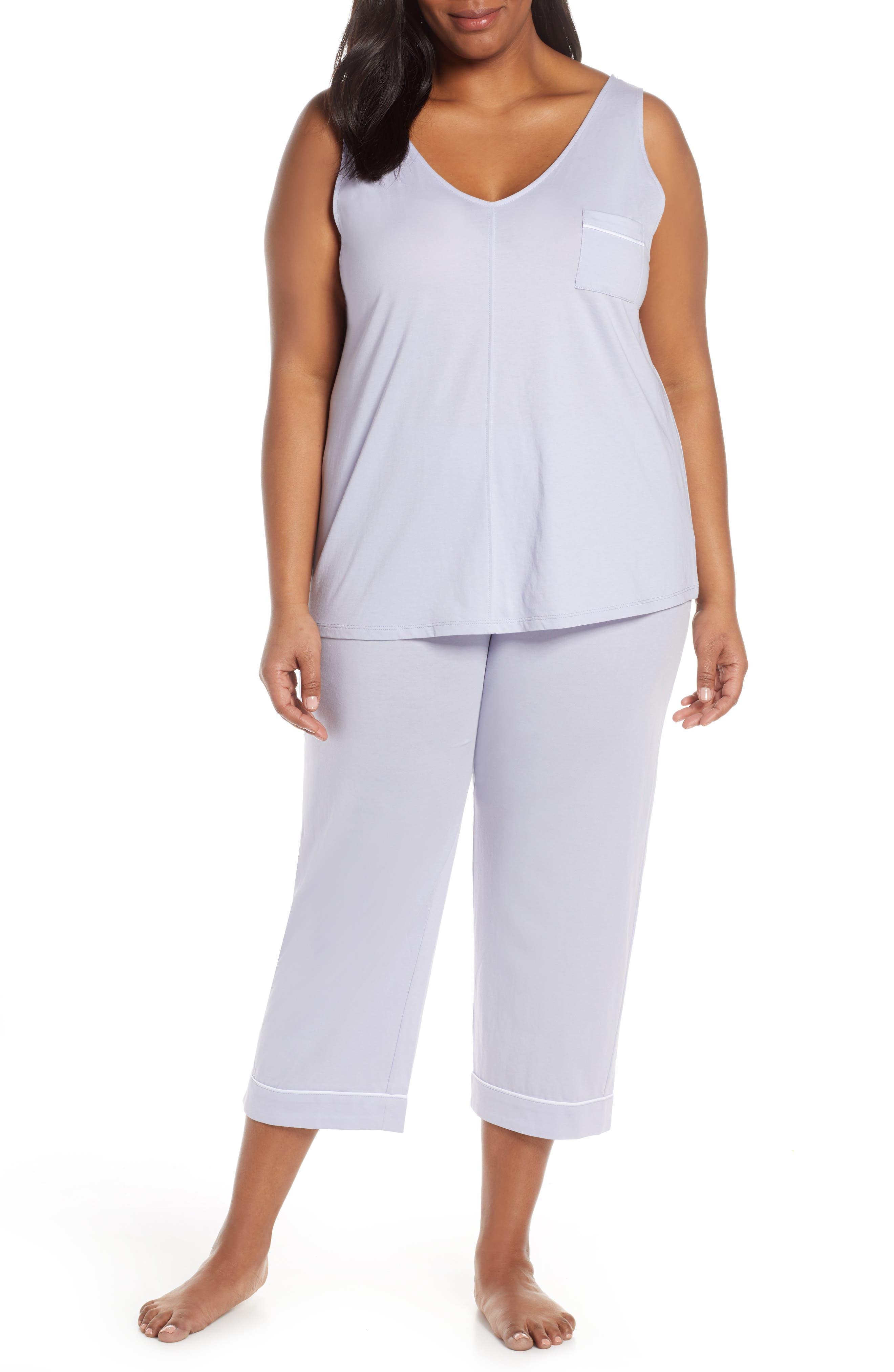 Plus Size Nordstrom Lingerie Breathe Cotton Crop Pajamas, Purple