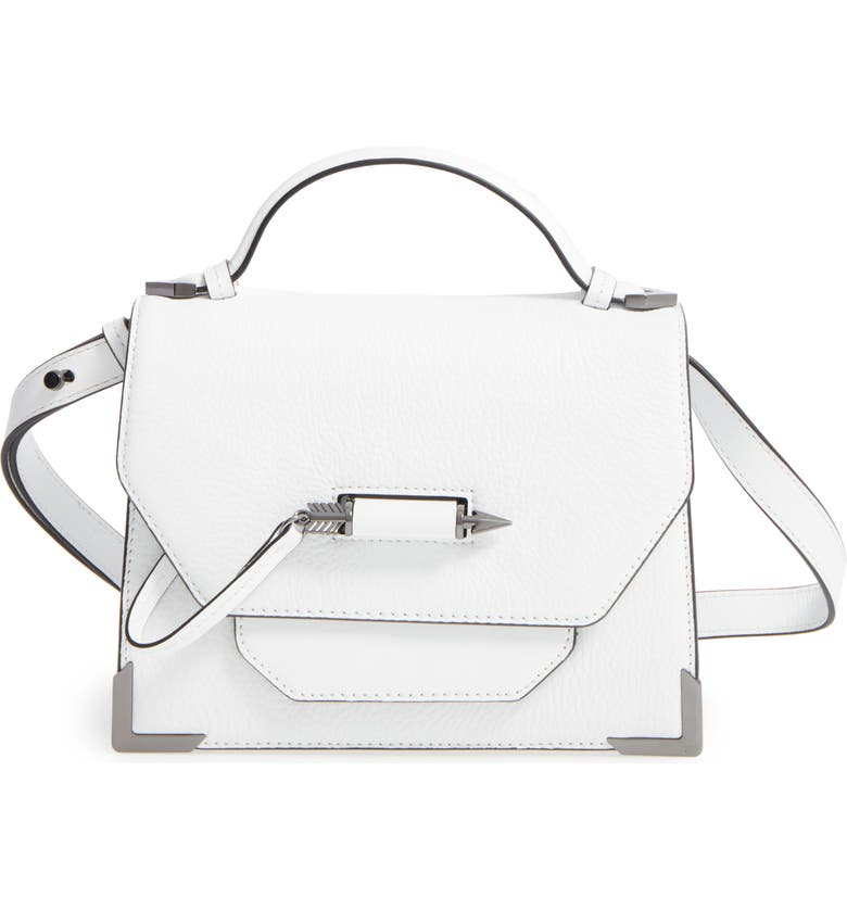 MACKAGE Keeley Leather Satchel, Main, color, WHITE