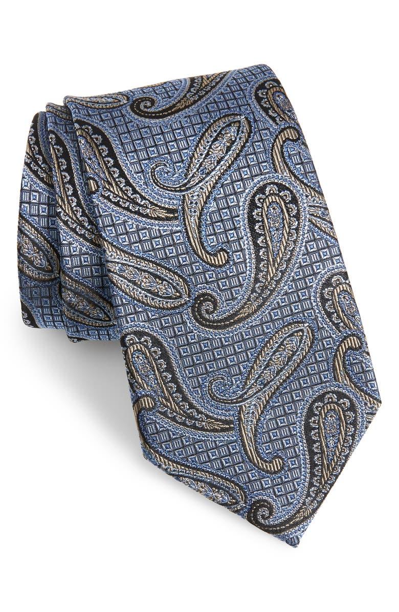 NORDSTROM MEN'S SHOP Paisley Silk Tie, Main, color, BLUE