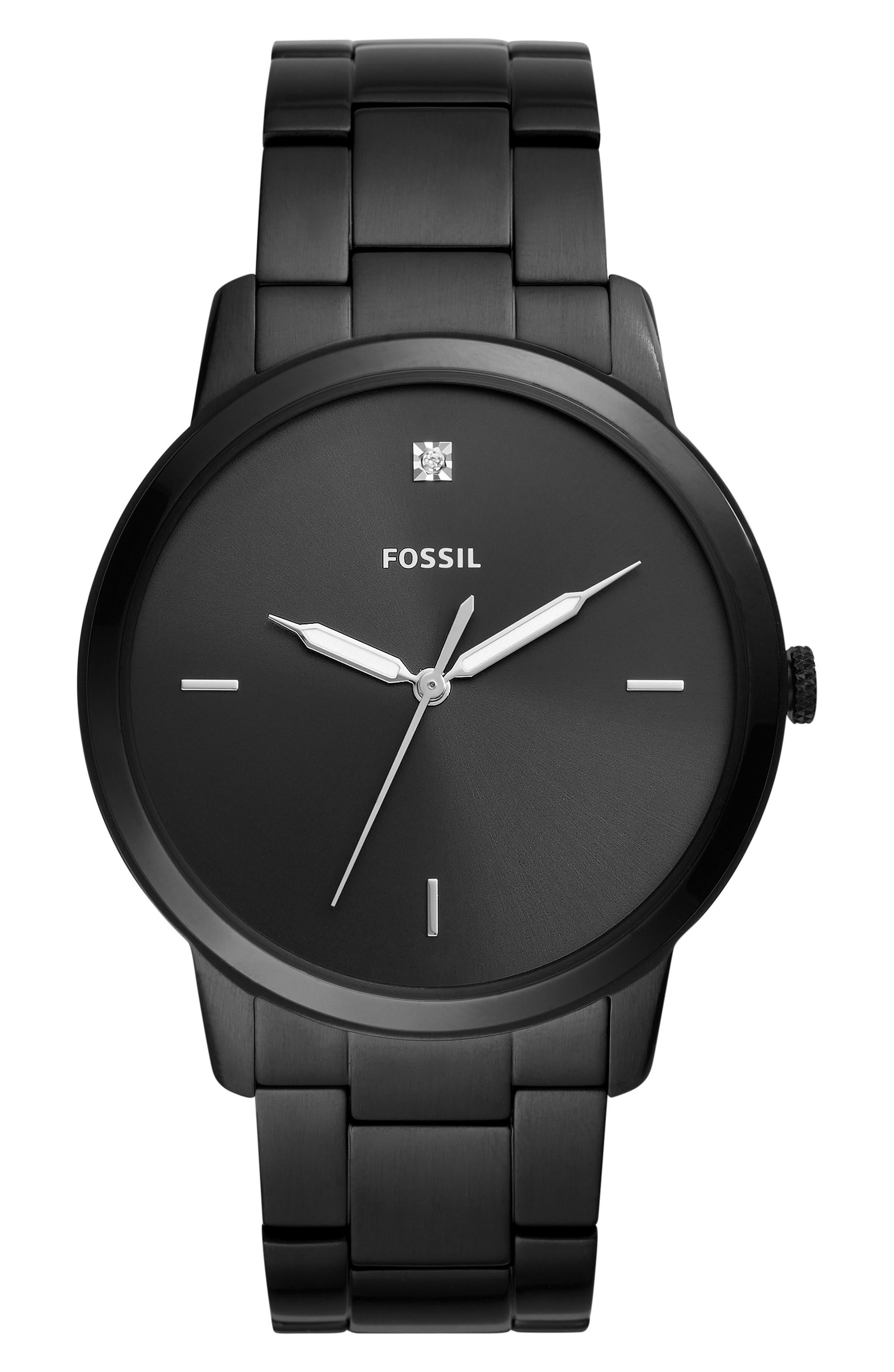 Minimalist Carbon Series Bracelet Watch, 44mm, Main, color, BLACK