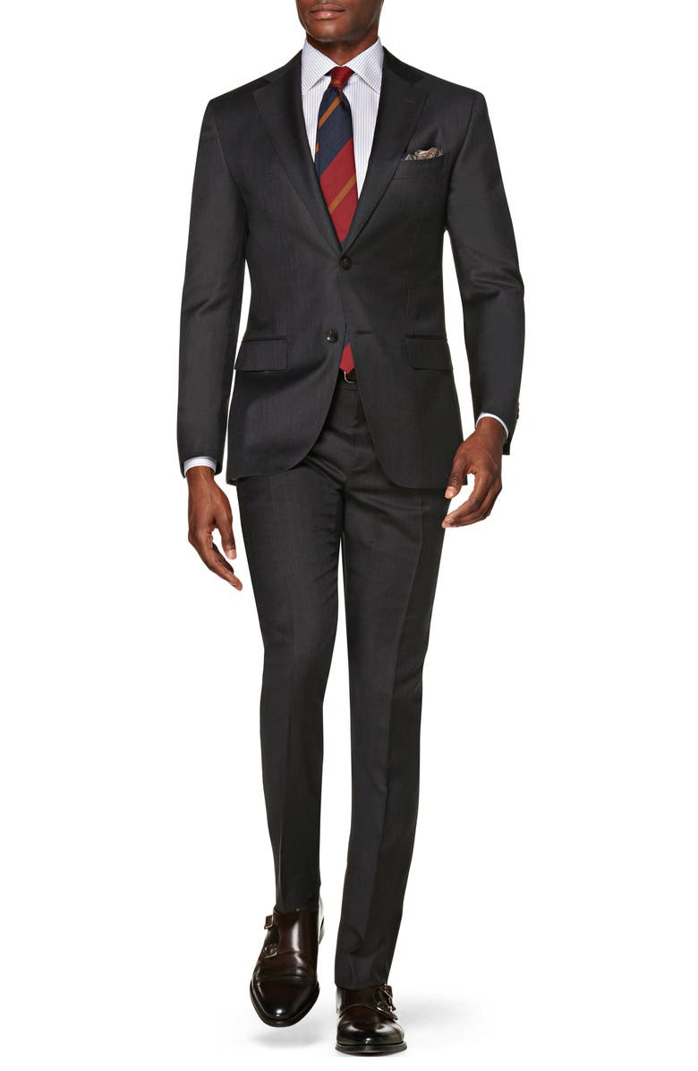 SUITSUPPLY Napoli Slim Fit Solid Wool Suit, Main, color, DARK GREY