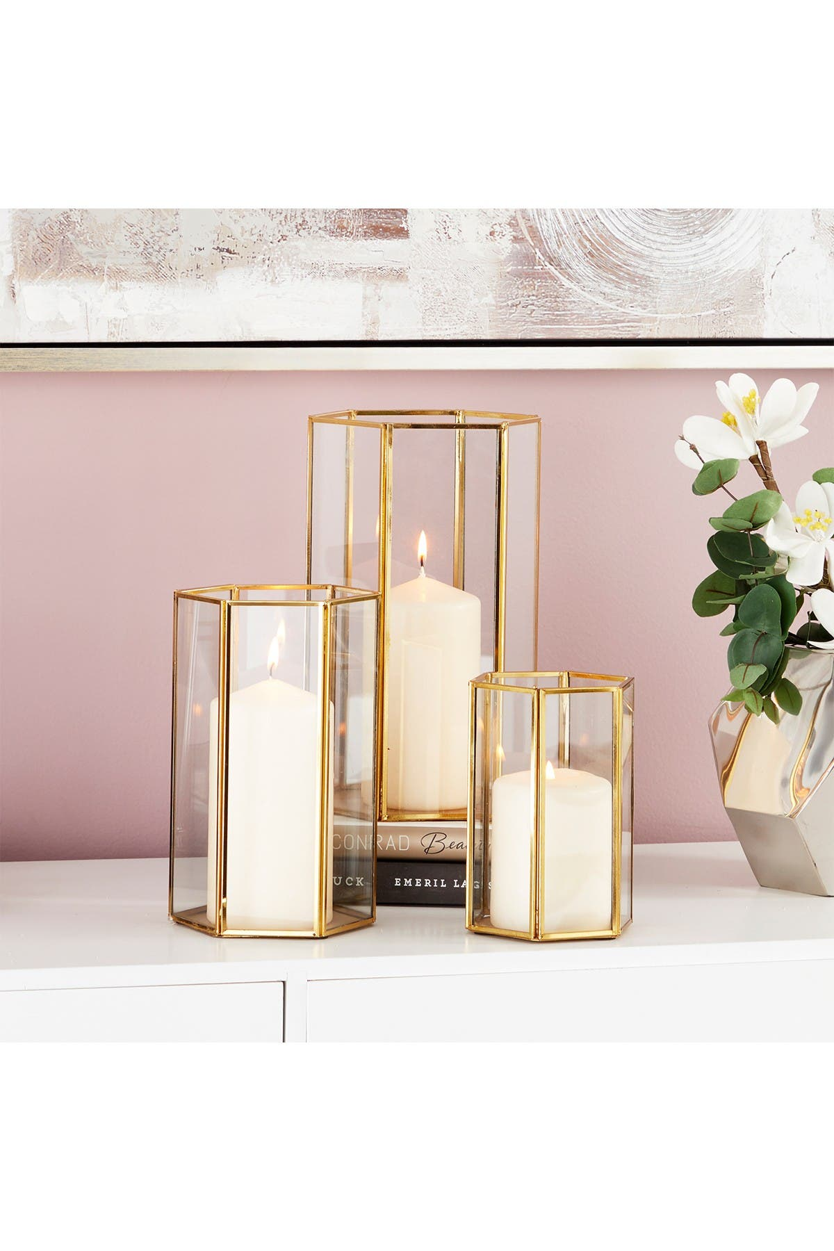 Cosmoliving By Cosmopolitan Modern Hexagonal Prism Shaped Iron Glass Candle Lantern Set Of 3 Nordstrom Rack