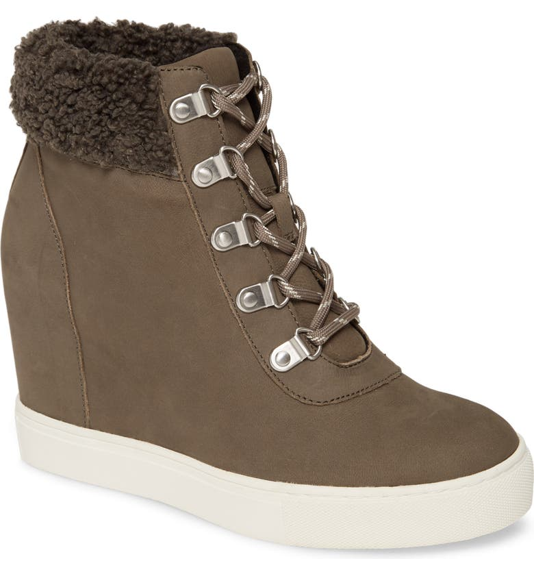 KENNETH COLE NEW YORK Kam Faux Fur High Top Sneaker, Main, color, CEMENT LEATHER