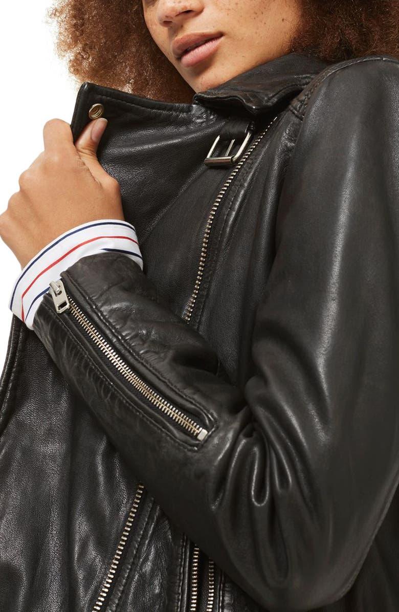 TOPSHOP Lucky Leather Biker Jacket, Main, color, 001