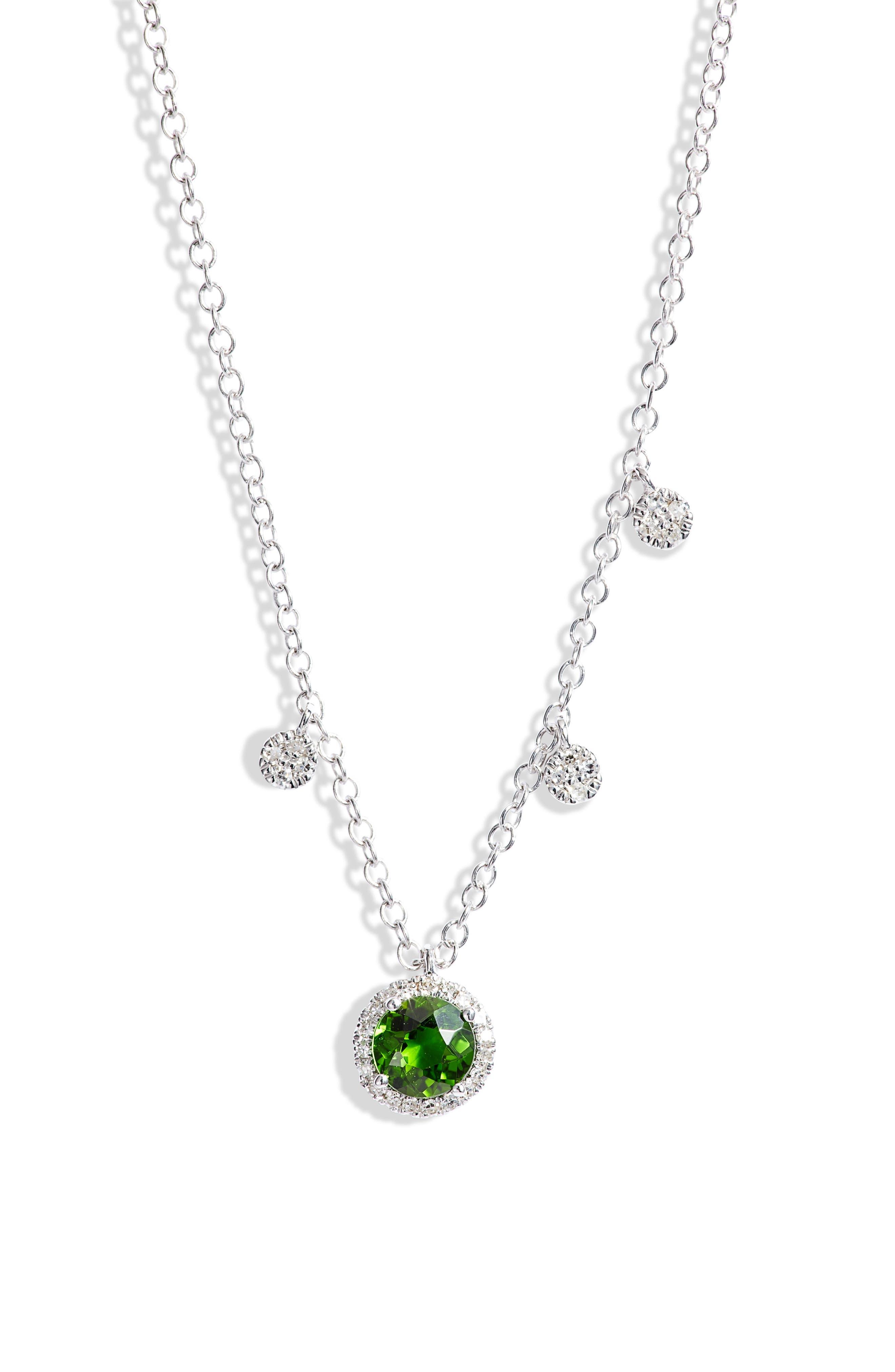 Tsavorite & Diamond Pendant Necklace