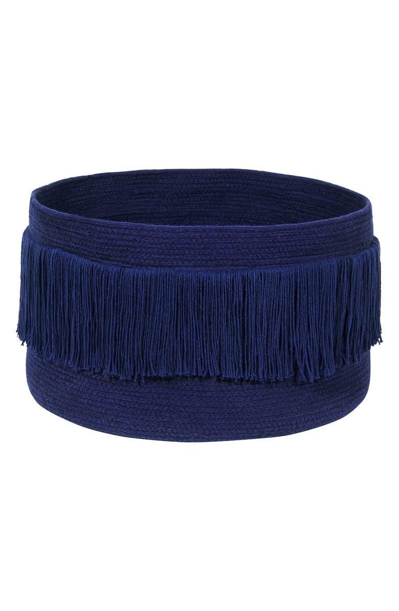 LORENA CANALS Fringe Basket, Main, color, ALASKA BLUE