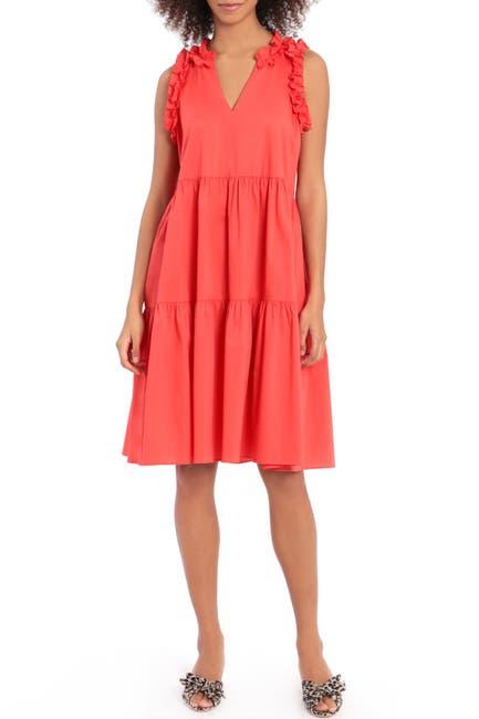 Image of Maggy London 3 Tier Poplin Midi Dress