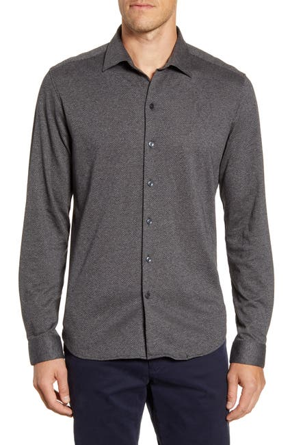 Image of ROBERT BARAKETT Guelph Regular Fit Knit Button-Up Shirt