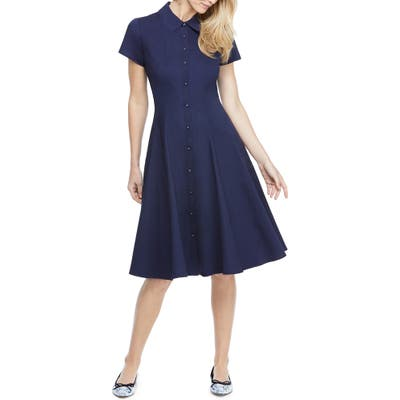 Petite Gal Meets Glam Collection Fit & Flare Shirtdress, Blue