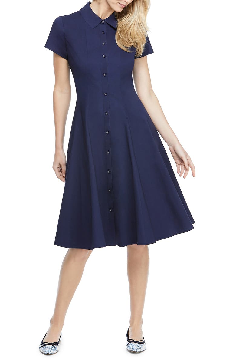 GAL MEETS GLAM COLLECTION Fit & Flare Shirtdress, Main, color, NAVY