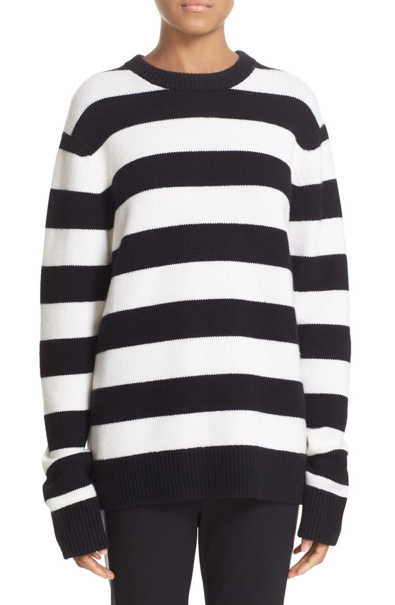 RAG & BONE Shana Stripe Cashmere Sweater, Main, color, 001