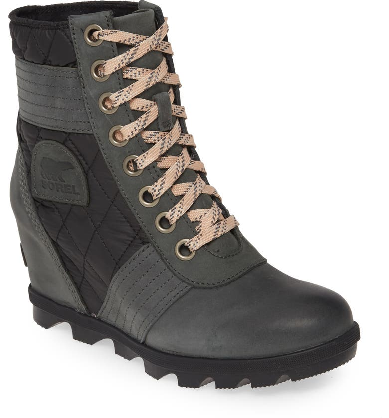 SOREL Lexie Wedge Boot, Main, color, DARK SLATE LEATHER