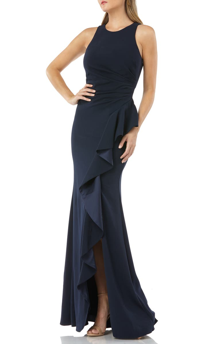 CARMEN MARC VALVO INFUSION Carmen Marc Valvo Couture Infusion Ruffle Gown, Main, color, 401