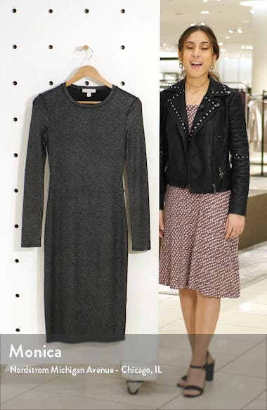 Metallic Long Sleeve Sheath Dress, sales video thumbnail