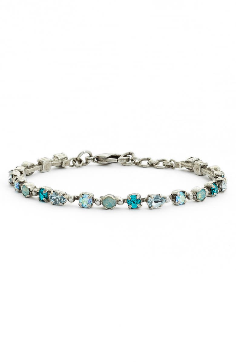 SORRELLI Straight & Narrow Crystal Tennis Bracelet, Main, color, BLUE-GREEN