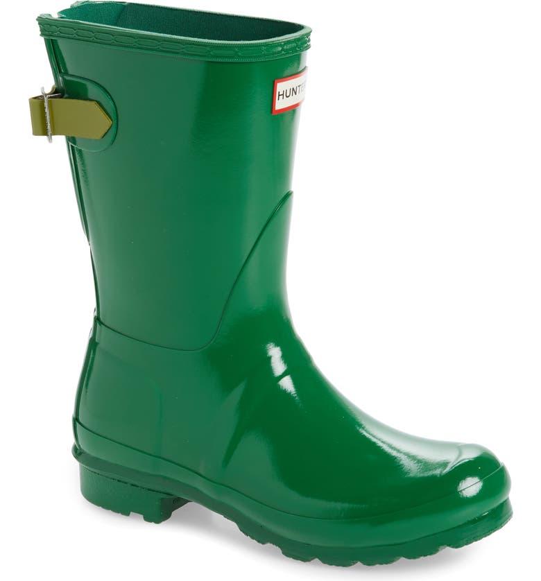 HUNTER Original Short Adjustable Back Gloss Waterproof Rain Boot, Main, color, 327
