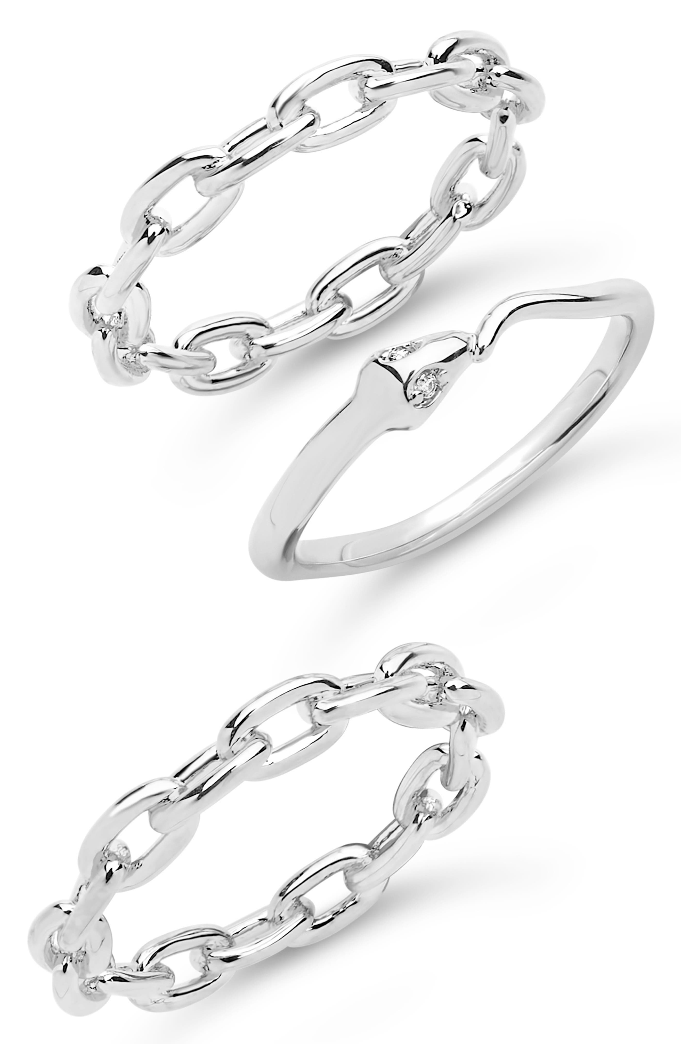 A snake with beaming cubic-zirconia eyes is the star of this rhodium-plated ring set that includes two chain-link designs. Style Name: Sterling Forever Set Of 3 Chain Snake Stacking Rings. Style Number: 6173188. Available in stores.