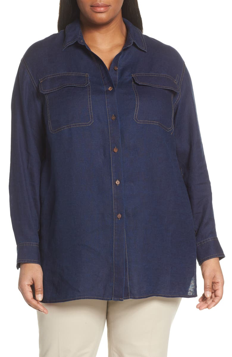 LAFAYETTE 148 NEW YORK Everson Chambray Shirt, Main, color, 400
