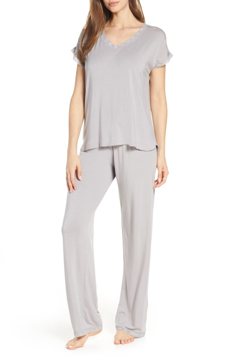 BAREFOOT DREAMS<SUP>®</SUP> Luxe Jersey Pajamas, Main, color, PEWTER