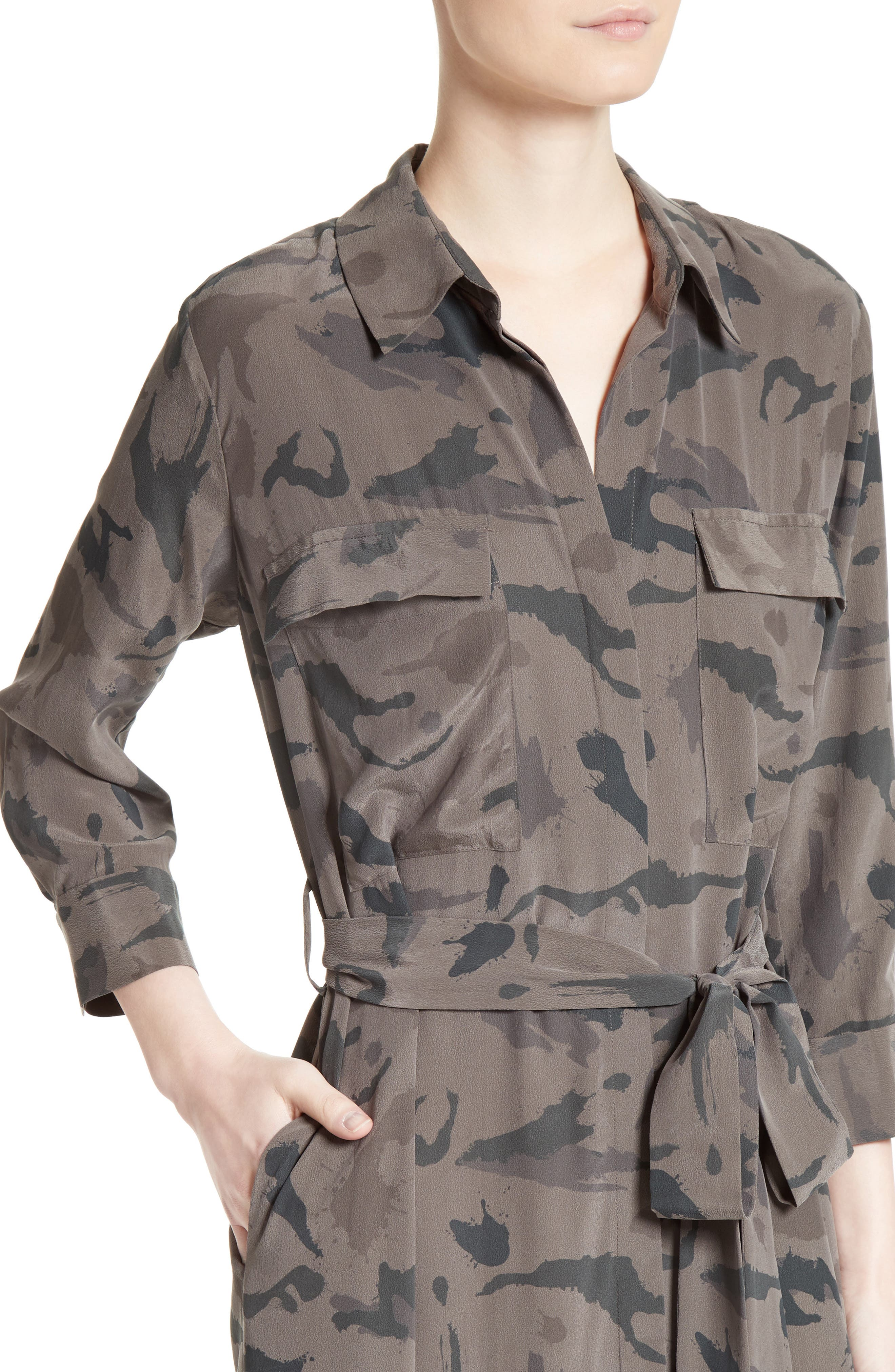 ,                             Silk Maxi Shirtdress,                             Alternate thumbnail 4, color,                             360