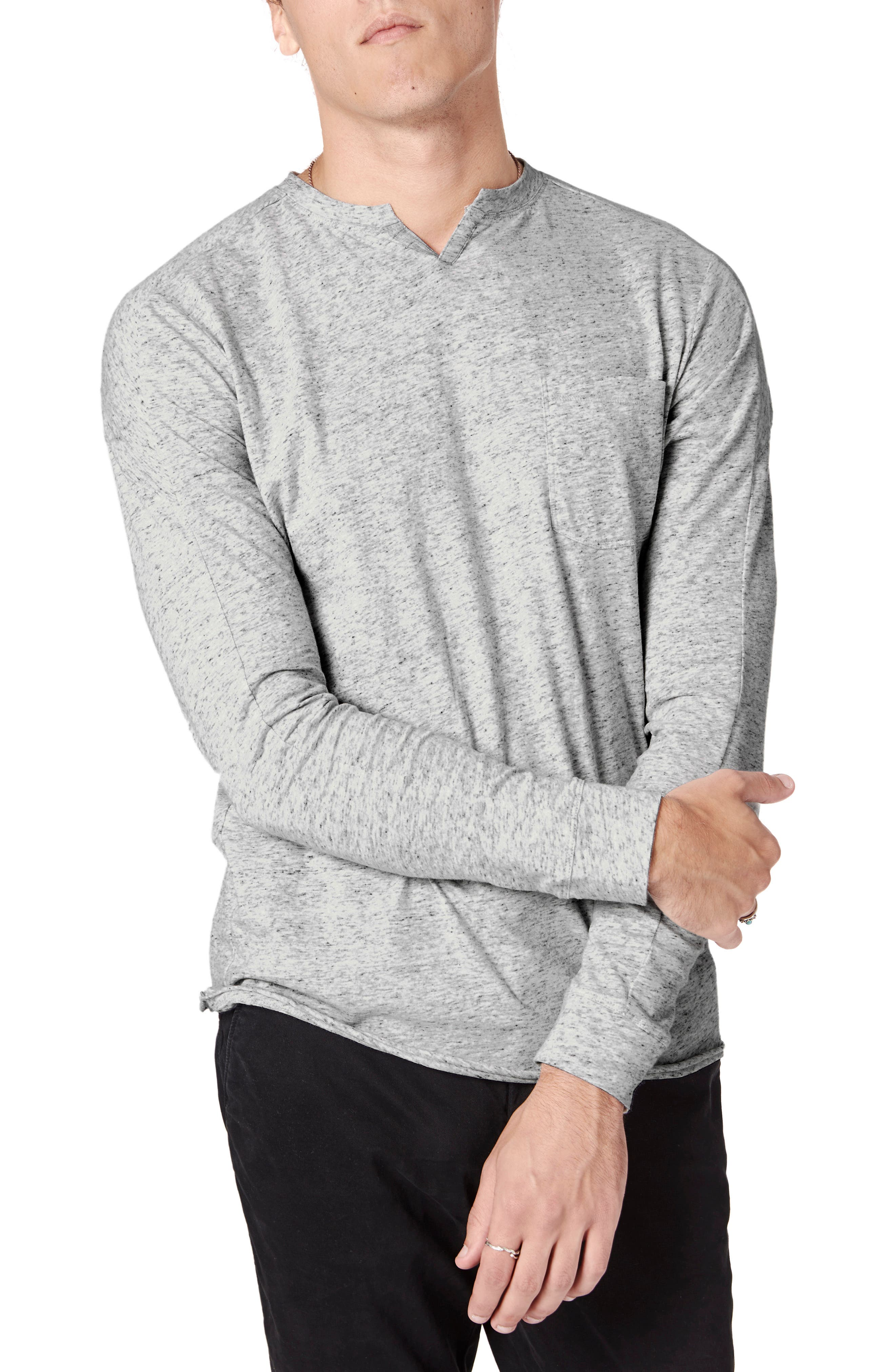 Softly slubbed cotton brings mottled color and texture to a long-sleeve T-shirt done with a sporty notched neck for a look that\\\'s great layered or on its own. Style Name: Good Man Brand Victory Slim Fit Notch Neck Long Sleeve T-Shirt. Style Number: 5862591. Available in stores.