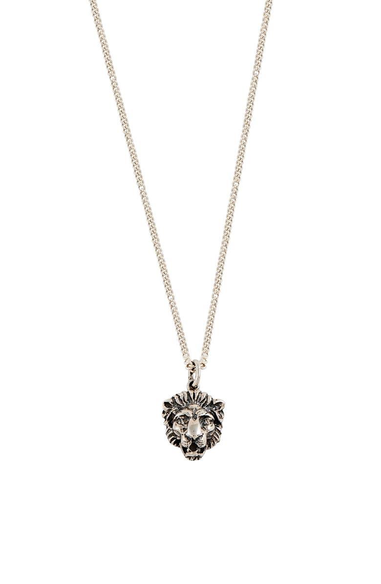LOREN STEWART Lion Medallion Necklace, Main, color, SILVER
