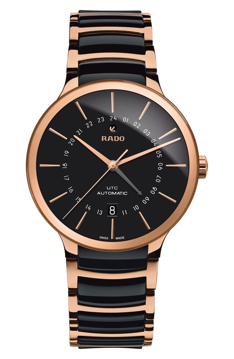 RADO Centrix Automatic Ceramic Bracelet Watch, 40mm, Main, color, BLACK/ ROSE GOLD