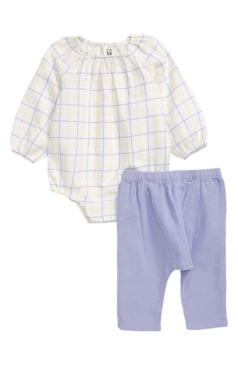 STEM Sweet Check Organic Cotton Bubble Bodysuit & Leggings Set, Main, color, 100