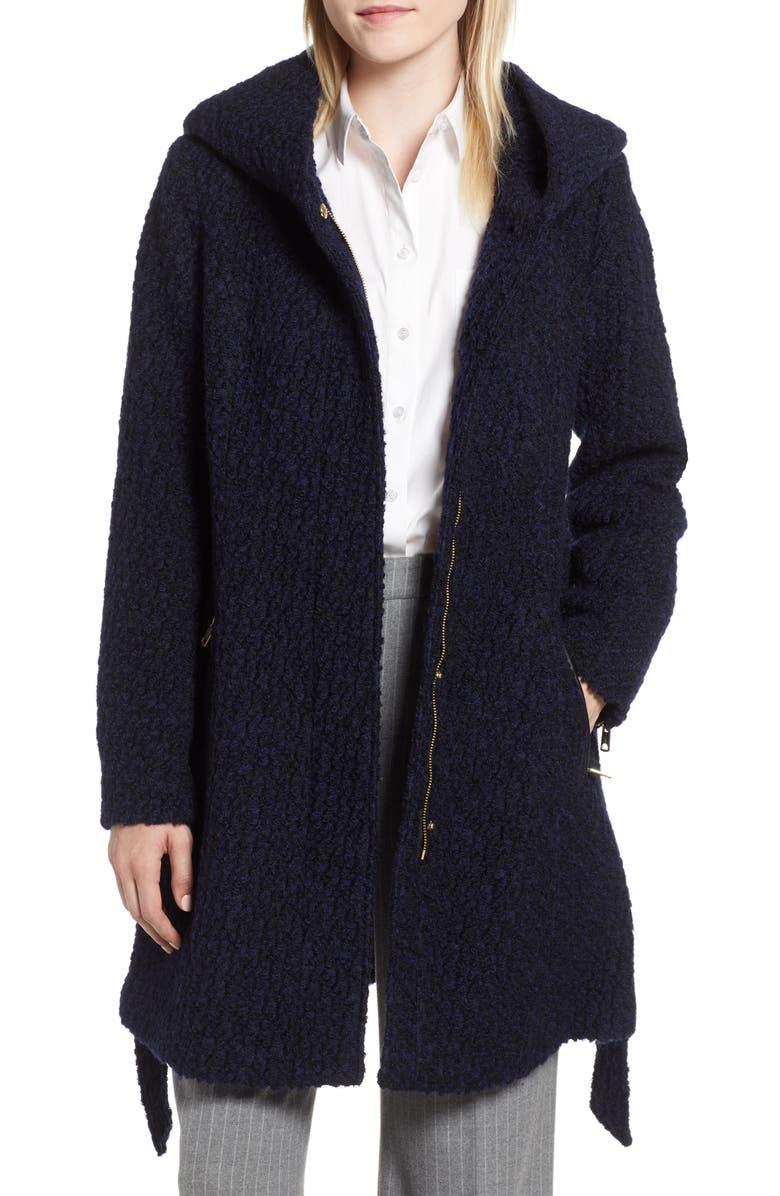 COLE HAAN SIGNATURE Belted Bouclé Wool Blend Coat, Main, color, BLACK/ NAVY