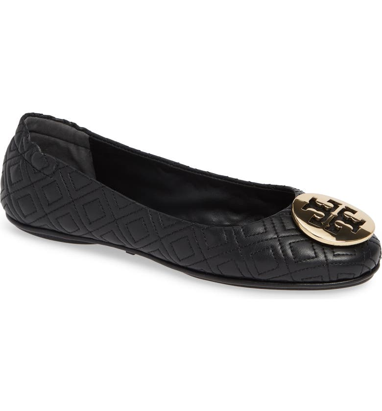 TORY BURCH Quilted Minnie Flat, Main, color, BLACK/ GOLD
