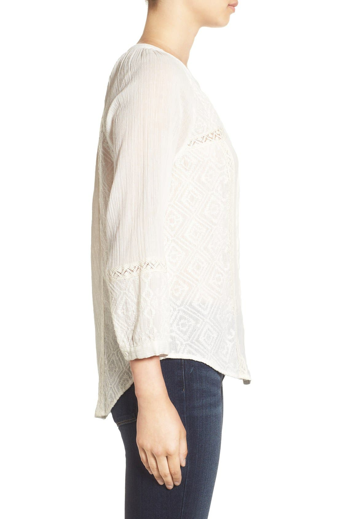 ,                             'Deandra' Embroidered Cotton Top,                             Alternate thumbnail 3, color,                             101